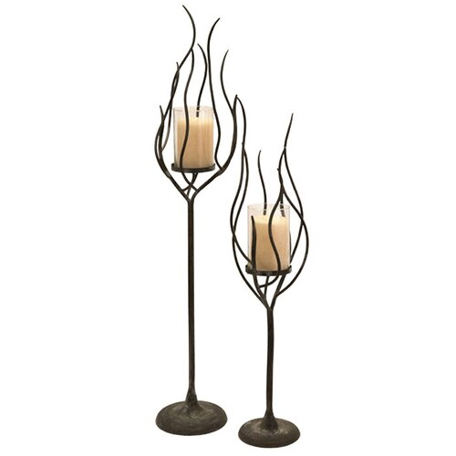 IMAX Anemone Wrought Iron and Glass Hurricane (Set of 2)