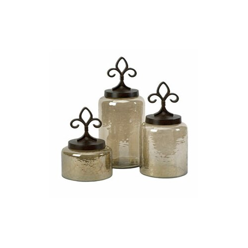 IMAX 3 Piece Fleur De Lis Lidded Decorative Jar Set