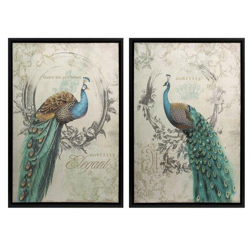 Panache Peacock 2 Piece Framed Painting Print Set