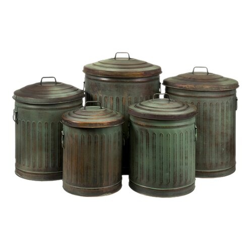 Five Piece Leva Verdigris Storage Can Set in Copper (Set of 5)