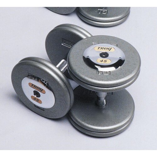 Troy Barbell 42.5 lbs Pro-Style Cast Dumbbells in Gray