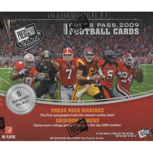 NCAA 2009 Press Pass Football Playing Cards (28 Packs)