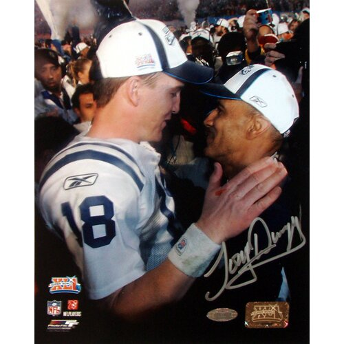 Tony Dungy SB XLI Close up view with Peyton Manning Autographed 8