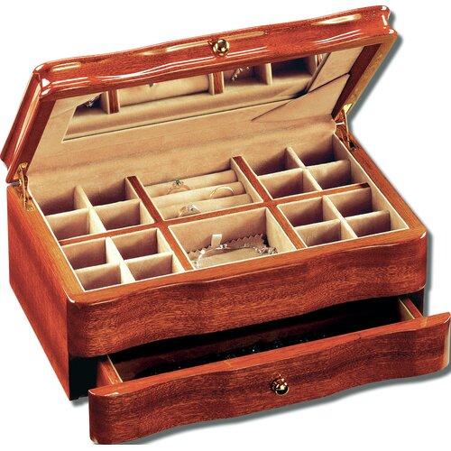 Mahogany Scalloped Front Jewelry Box