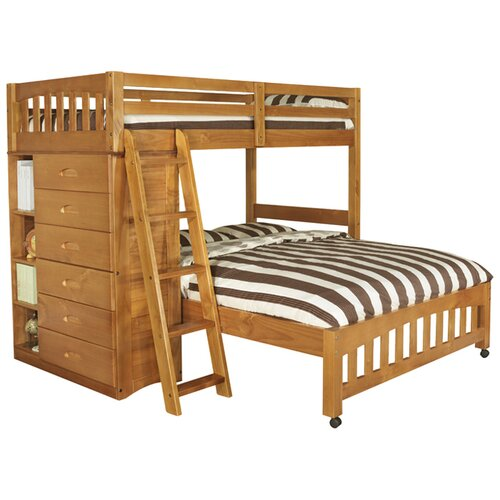 Weston Twin over Full L-Shaped Bunk Bed with Bookshelves and Storage