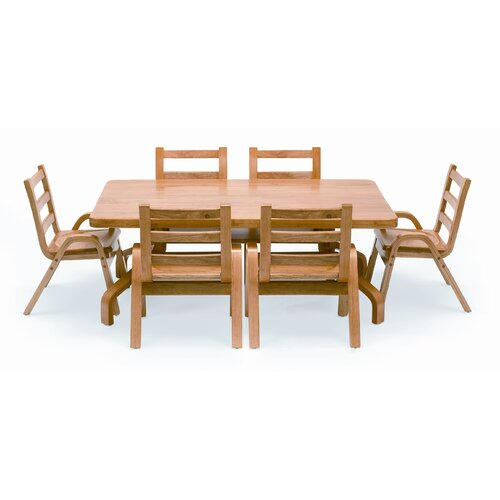 "Angeles NaturalWood 12"" Rectangle Toddler Table and Chair Set"