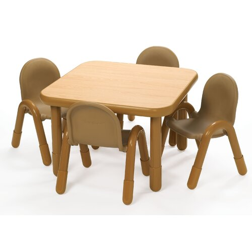 Angeles Square Baseline Preschool Table and Chair Set in Natural