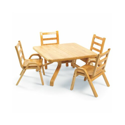 "Angeles NaturalWood 12"" Square Toddler Table And Chair Set"