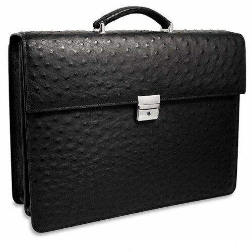 Genuine Ostrich Double Gusset Leather Briefcase