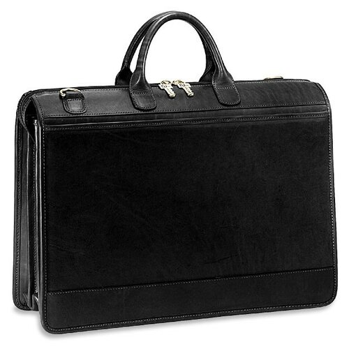 Triple Gusset Leather Briefcase