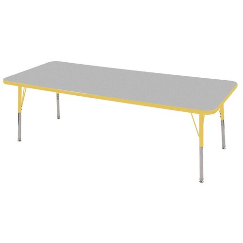 "ECR4kids 30"" x 72"" Rectangular Adjustable Activity Table in Gray"