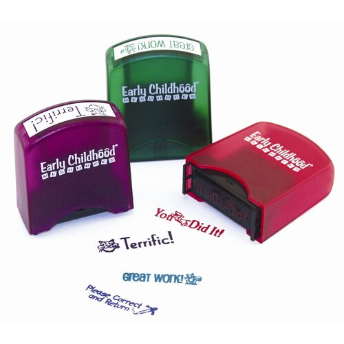 ECR4kids 8 Piece Self-Ink Teacher Stamps with Stand\