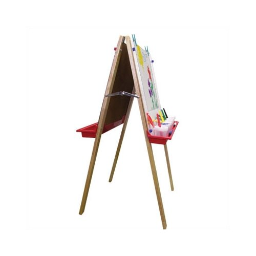 ECR4kids Hardwood Adjustable Floor Easel with Chalk and Dry-Erase Board