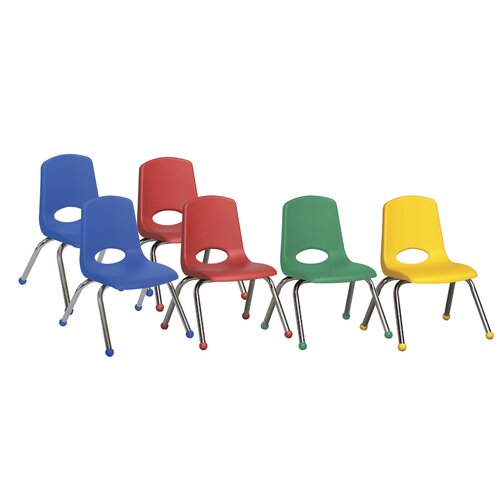 "ECR4kids 12"" Plastic Stack Chair with Chrome Legs (Set of 6)"