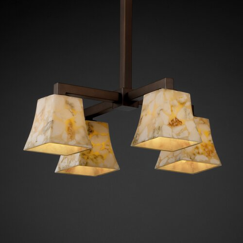 Justice Design Group Modular Alabaster Rocks 4 Light Down Chandelier