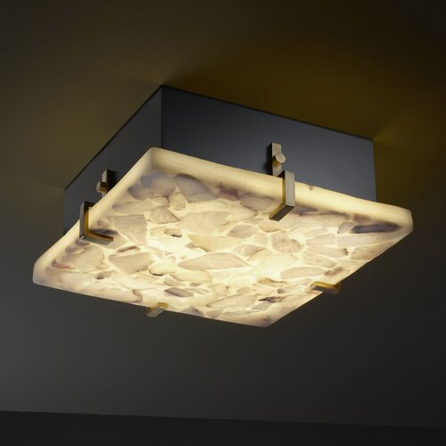 Justice Design Group Alabaster Rocks Clips 4 Light Square Flush Mount