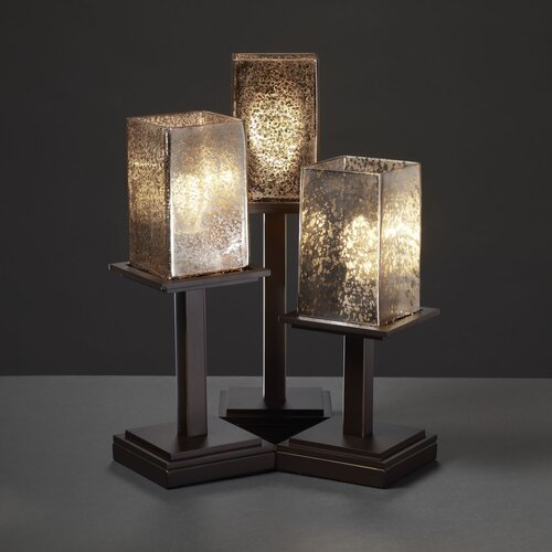 """Justice Design Group Fusion Montana 16.75"""" H Table Lamp with Rectangle Shade"""