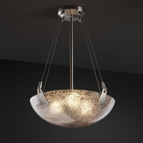 Justice Design Group Fusion 3 Light Inverted Pendant Bowl