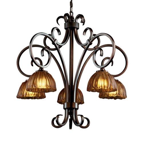 Justice Design Group Victoria 5 Light Downlight Chandelier