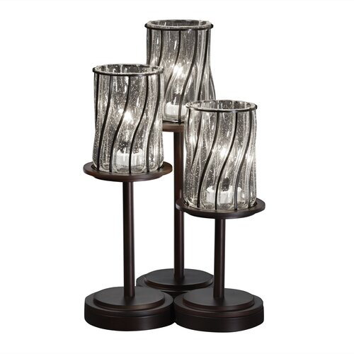"Justice Design Group Wire  Dakota 16"" H Table Lamp with Square Shade"
