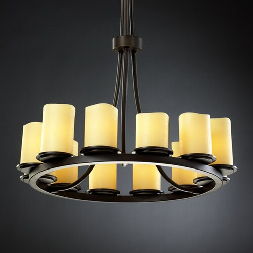 Justice Design Group CandleAria Dakota 12 Light Chandelier with Additional Chain