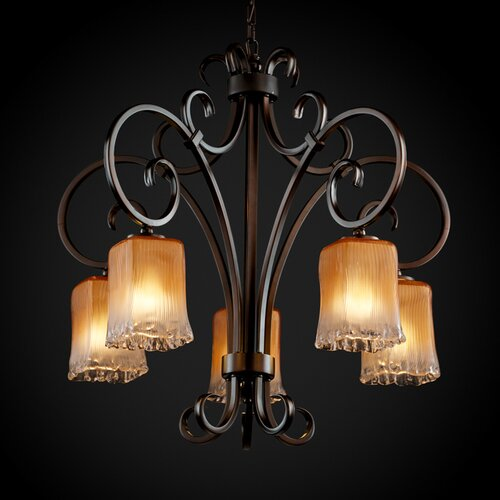 Justice Design Group Victoria 5 Light Downlight Chandelier