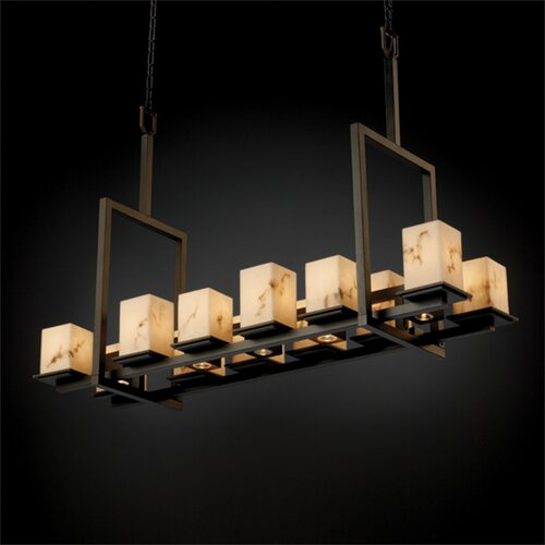 Justice Design Group Montana LumenAria 12-Up and 5-Down Light Tall Bridge Chandelier