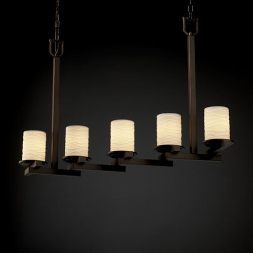 Dakota Limoges 5 Light Zig-Zag Chandelier
