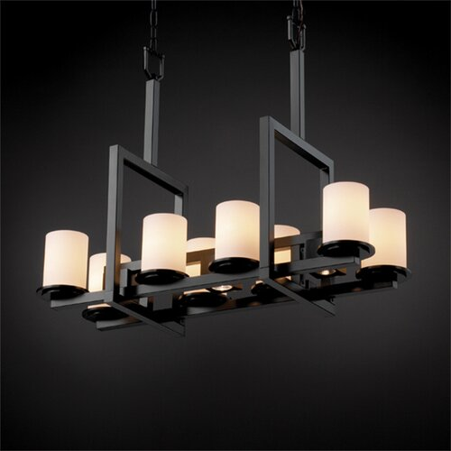 Justice Design Group Dakota Fusion 8-Up and 3-Down Light Bridge Chandelier