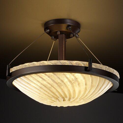 Justice Design Group Veneto Luce Ring 3 Light Semi Flush Mount