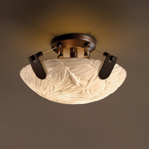 Justice Design Group U-Clips Porcelina 2 Light Semi Flush Mount