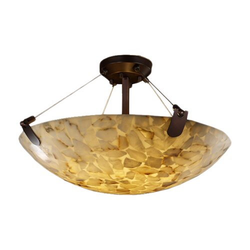Justice Design Group Alabaster Rocks U-Clips 3 Light Semi Flush Mount