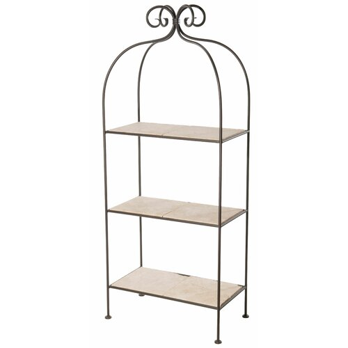 Stone County Ironworks Scroll 3-Tier Double Width Standing Glass Shelf
