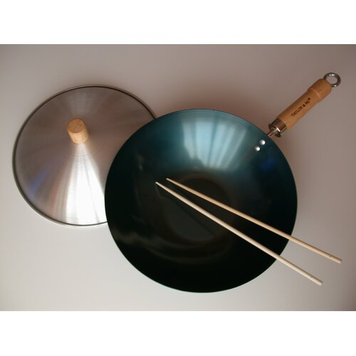 "Taylor & Ng 3 Piece 12"" Preseasoned Flat Bottom Wok Set"