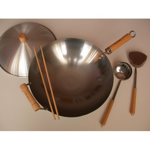 "Taylor & Ng 6 Piece 14"" Round Bottom Wok Set"