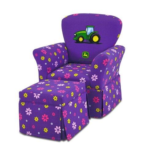Kidz World Girl's Skirted Rocking Chair and Ottoman Set