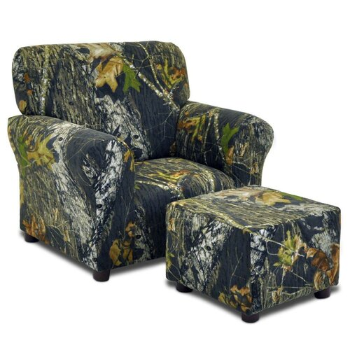Kidz World Mossy Oak Camouflage Kids Club Chair and Ottoman Set