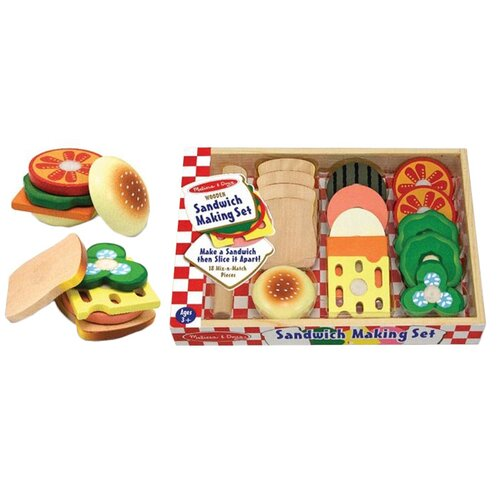Melissa and Doug 17 Piece Play Food Sandwich Making Set