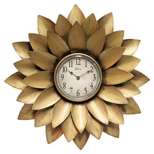 "Infinity Instruments 20"" Midas Iron Flower Wall Clock"