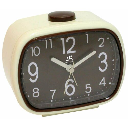 That 70's Retro Alarm Clock in Cream with Brown Face