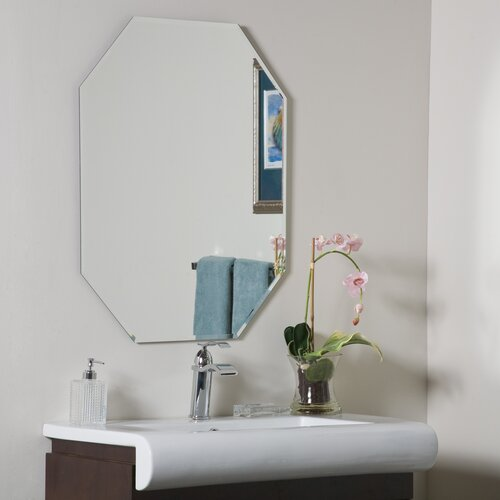 Eight-Sided Frameless Beveled Wall Mirror