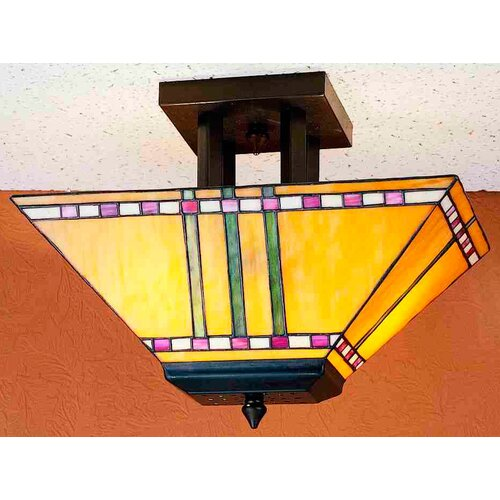 Meyda Tiffany 2 Light Corn Oblong Semi Flush Mount