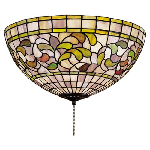 3 Light Tiffany Turning Leaf Flush Mount