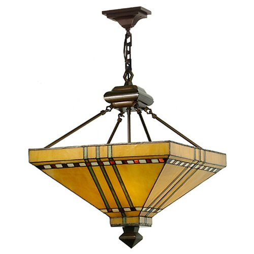 Mission Stickley Prairie Corn 4 Light Inverted Pendant