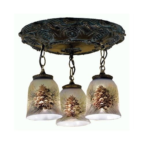 3 Light Hand Painted Semi Flush Mount