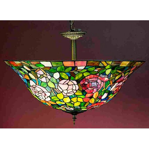 3 Light Tiffany Rosebush Semi Flush Mount