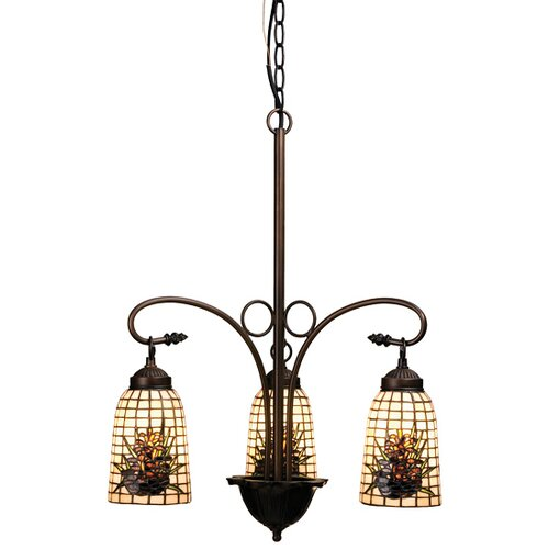 Meyda Tiffany Victorian Lodge Tiffany Pine Barons 3 Light Chandelier