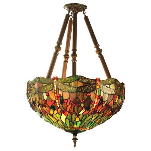 4 Light Tiffany Nouveau Insects Hanginghead Dragon