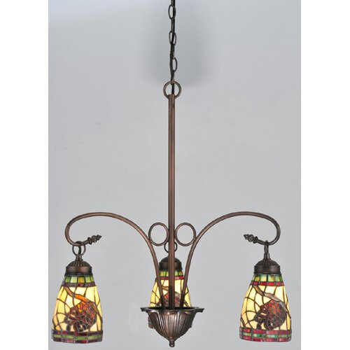 Meyda Tiffany Lodge Pinecone Dome 3 Light Chandelier