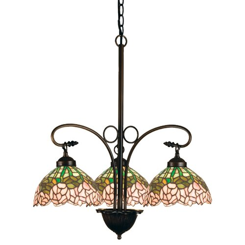 Tiffany Cabbage Rose 3 Light Chandelier